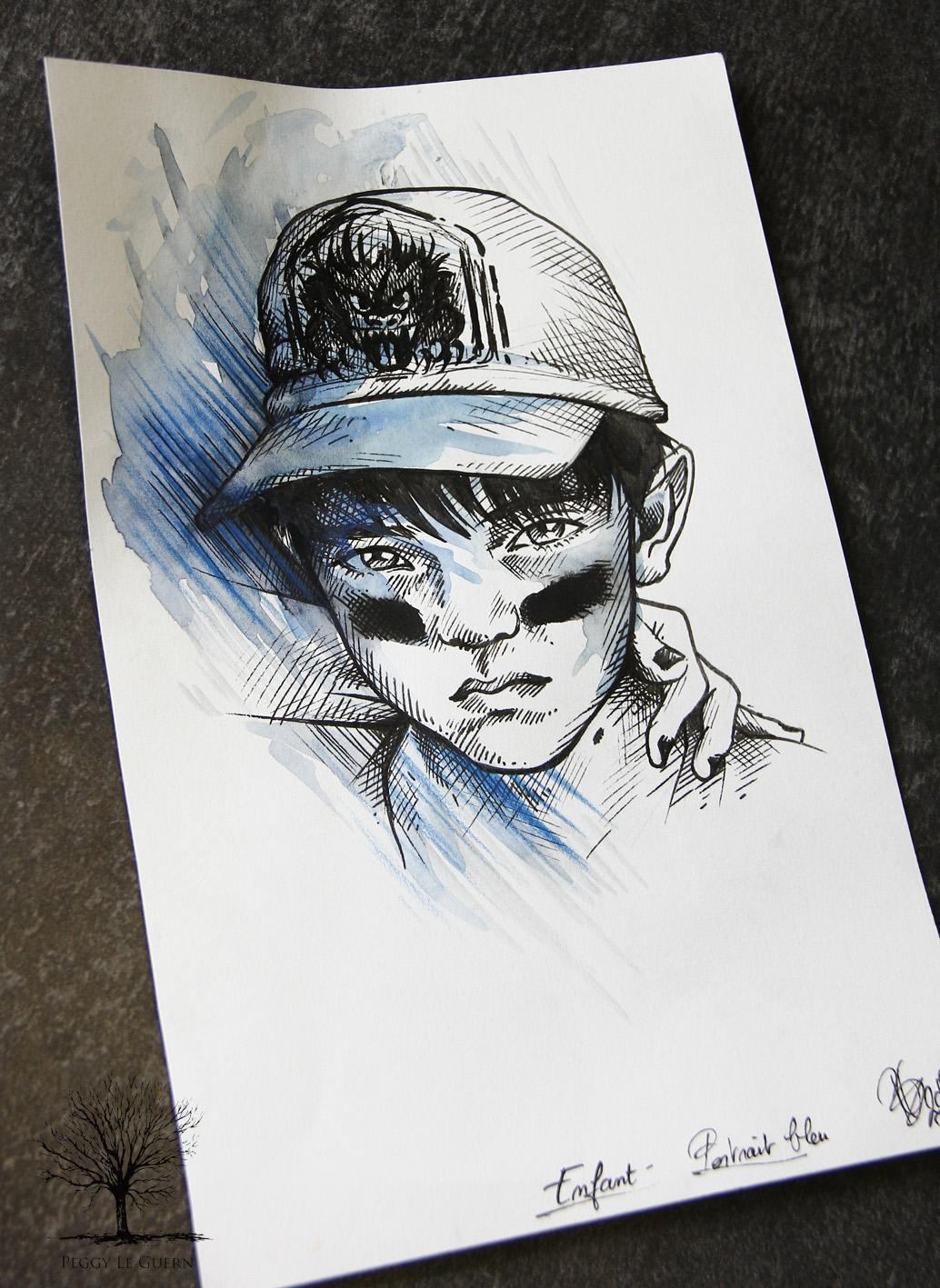 Enfant -portrait bleu